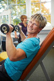 Senior woman doing weight training Royalty Free Stock Photo