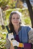 Senior woman doing yard work Royalty Free Stock Images