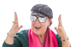 Senior Woman Dreaming happy for Money Concept Royalty Free Stock Photo