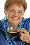Senior woman drinking cup of coffee Royalty Free Stock Photos
