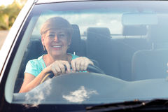 Senior woman driving royalty free stock images
