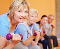 Senior woman with dumbbells doing. Senior women with dumbbells doing back training in a fitness center Royalty Free Stock Photography