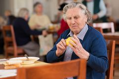 Senior woman eating Stock Photography