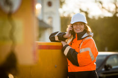 Senior woman engineer work call Royalty Free Stock Photography