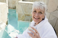 Senior Woman Enjoying Her Drink Stock Photos