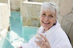 Senior Woman Enjoying Her Drink Stock Photos