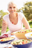 Senior Woman Enjoying Meal In Garden stock images