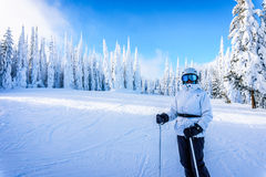 Senior Woman enjoying the Winter Landscape with Snow Covered Trees on the Ski Hills Royalty Free Stock Photos