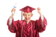 Senior Woman Excited to Graduate Stock Photos