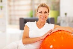 Senior woman exercise. Healthy senior woman portrait with exercise ball Stock Photos