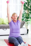 Senior woman exercise with weights  at home Stock Photos