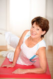 Senior woman exercising Stock Photos