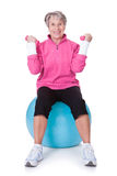 Senior Woman Exercising With Dumbbells Stock Photography
