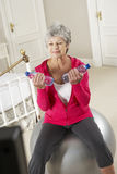 Senior Woman Exercising Whilst Watching Fitness DVD On Television Stock Photography