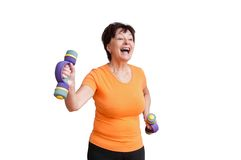 Senior woman exercising - on white Royalty Free Stock Image