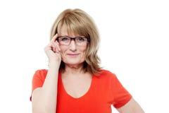 Senior woman with eyeglasses Stock Photography