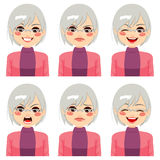 Senior Woman Face Expressions. Senior adult woman making six different face expressions set Stock Photo