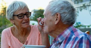 Senior woman feeding senior man in backyard 4k