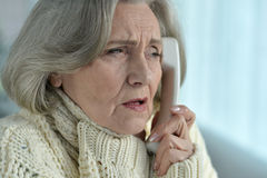 Senior woman feel unwell Royalty Free Stock Images