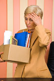 Senior woman fired or is retiring Stock Photo