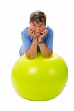 Senior woman with fitness ball Royalty Free Stock Photography