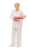 Senior woman with folder Royalty Free Stock Photography