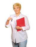 Senior woman with folder and keys Stock Images