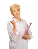 Senior woman with folder and keys Stock Photography