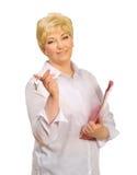 Senior woman with folder and keys Stock Photography