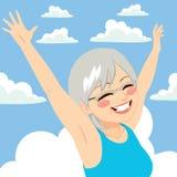 Senior Woman Freedom sky Royalty Free Stock Photo