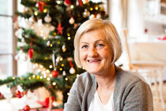 Senior woman in front of illuminated Christmas tree. Beautiful senior woman sitting on the floor in front of illuminated Christmas tree inside in her house Royalty Free Stock Photos