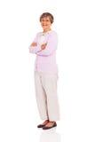 Senior woman full length. Portrait standing on white background stock photos
