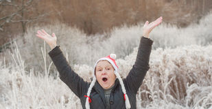 Senior woman in funny santa hat with pigtails with raised hands. Photo took in Moscow, Russian Stock Photography