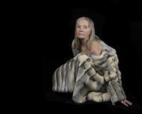 Senior woman with Fur royalty free stock image