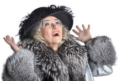 Senior woman in fur Stock Photography