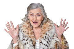 Senior woman in fur Royalty Free Stock Photography