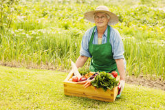 Senior woman in garden Royalty Free Stock Photos