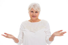Senior woman gesturing Royalty Free Stock Image