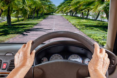 Senior Woman Get Lost Way On Rural Road Royalty Free Stock Photo