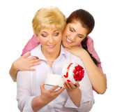 Senior woman with gift Royalty Free Stock Photography