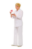 Senior woman with gift box Stock Photo