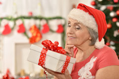 Senior woman with   gifts Stock Image