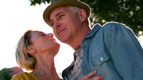 Senior woman giving her partner a kiss on sunny day stock footage