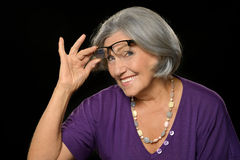Senior woman with glasses Stock Photos