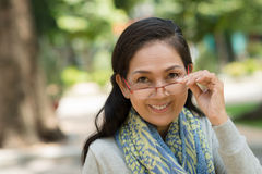 Senior woman in glasses Stock Images