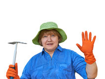 Senior Woman In Gloves With Garden Tools Royalty Free Stock Image