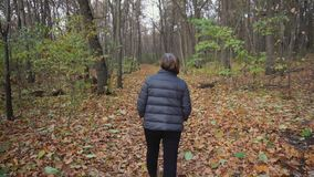 Senior woman goes on the path along the autumnal forest. Rear view of senior woman who goes on a forest path along the autumnal forest. She looking at the trees stock footage
