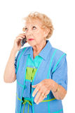 Senior Woman Gossips on Cellphone Stock Photography