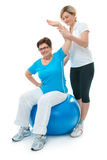 Senior woman in gym Stock Image