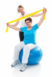 Senior woman in gym Stock Photo